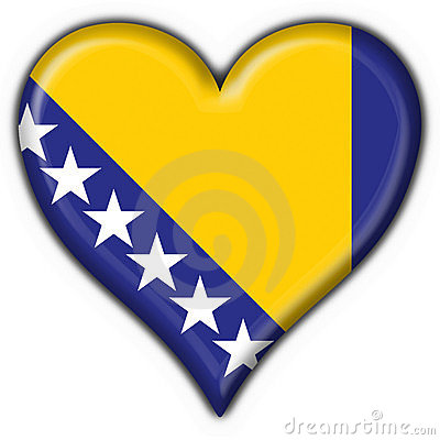 Bosnia button flag heart shape
