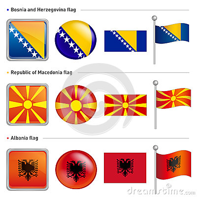 Bosnia and Herzegovina, Macedonia and Albania Flag Icon. The wor