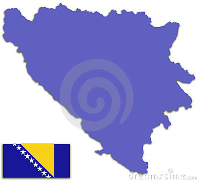 Bosnia and Herzegovina map and flag