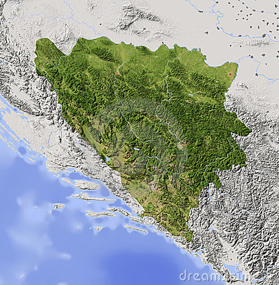 Bosnia and Herzegovina, shaded relief map
