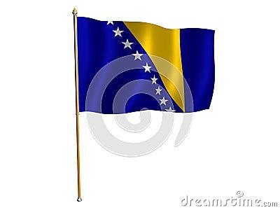 Bosnia and Herzegovina silk flag