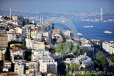Bosphorus Bridge panorama from Galata Tower Editorial Stock Photo