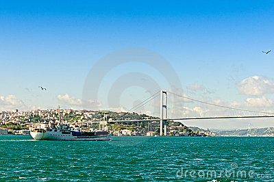 Bosphorus Bridge and a ship