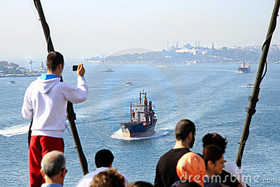 Bosporus from Bridge Editorial Stock Photo