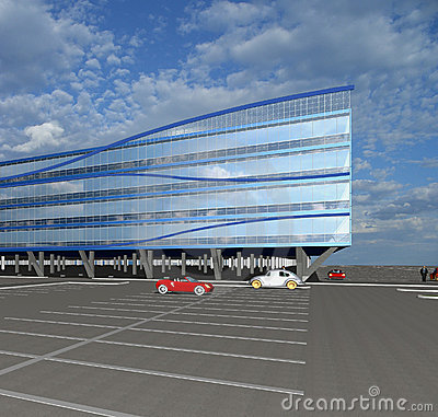 Bosquejo 3D del edificio comercial moderno