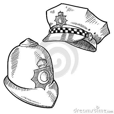 Bosquejo de los sombreros de la policía