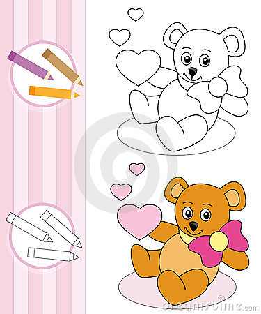 Bosquejo del libro de colorante: oso de peluche