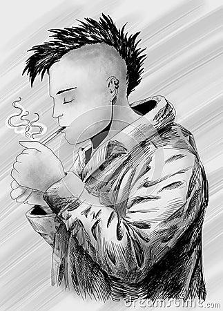 Bosquejo punky que fuma