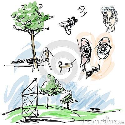 Bosquejos al aire libre del parque