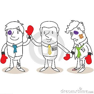Boss announcing winner in boxing match