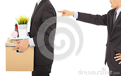 Boss dismisses employee . isolated on white
