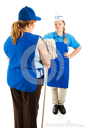 Boss Hands Mop To Teen Worker Stock Photography - Image: 25876972