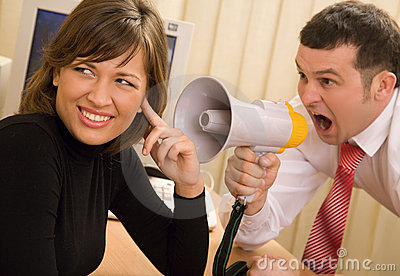 Boss shouting at office