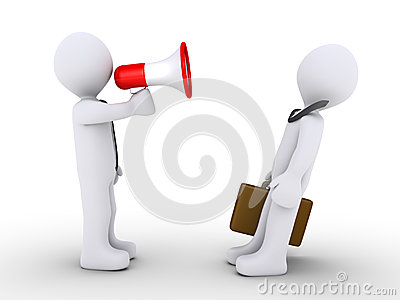 Boss is shouting to employee with a bullhorn
