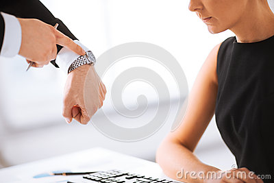 Boss and worker at work having conflict