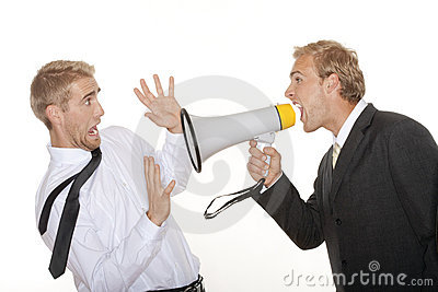 Boss yelling into megaphone