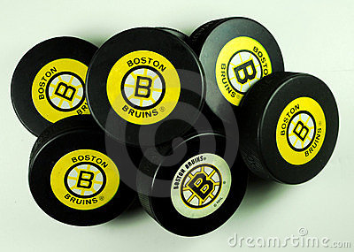 Boston Bruins hockey pucks Editorial Stock Photo