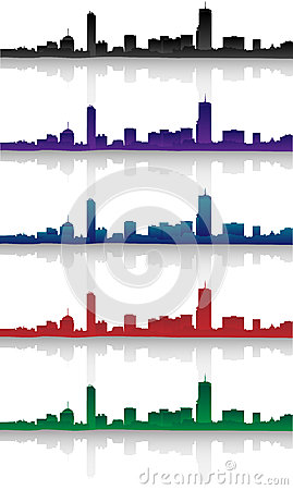 Boston Skyline Silhouette Set