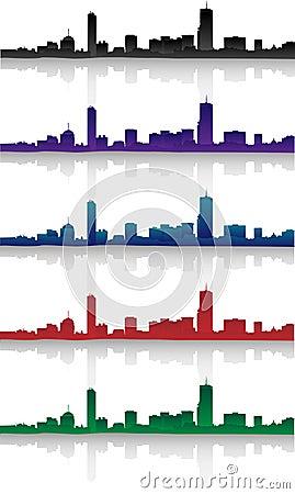 Boston Skyline Silhouette Set