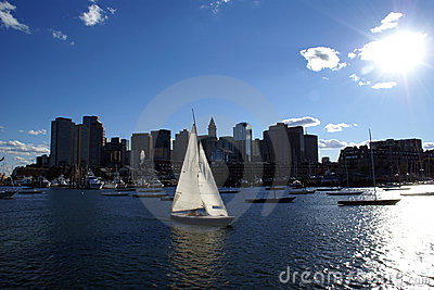 Boston Harbor Downtown Skyline and Sailboat