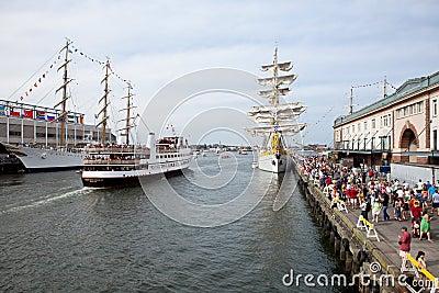 BOSTON - JULY 11: Sail Boston, Tall Ships at the f Editorial Stock Photo