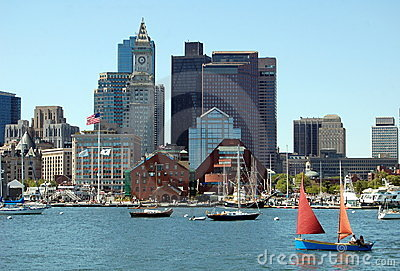 Boston, MA: Skyline and Harbour Editorial Photo