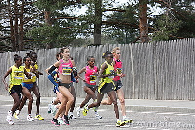 Boston Marathon Womens Runners Editorial Photo