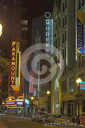 Boston by night Editorial Stock Image