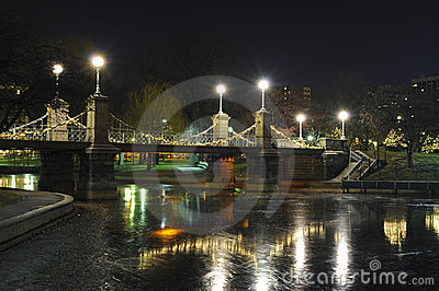 Boston public park bridge at night