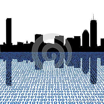 Boston skyline with binary