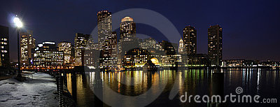 Boston SKyline at night panorama