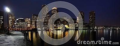 Boston SKyline at night panorama