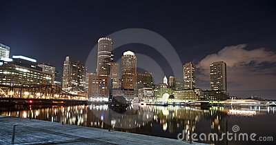 Boston skyline at night time