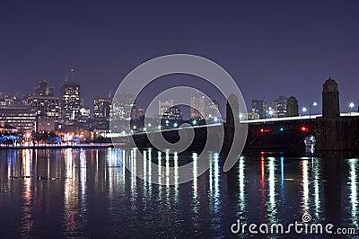 Boston skyline at night time