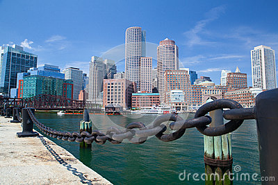 Boston skyline and Northern Avenue Bridge. Editorial Stock Photo