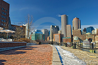 Boston skyline on a sunny winter day