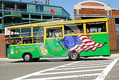 Boston Upper Deck Trolley Tours Bus Editorial Stock Photo