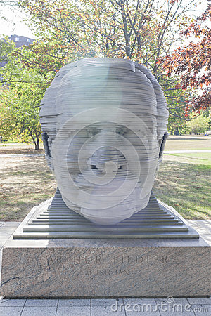 Boston-USA, October, 3: Statue of Arthur Fiedler in Boston city Editorial Photography