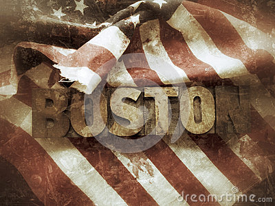 Boston word with USA flag grunge