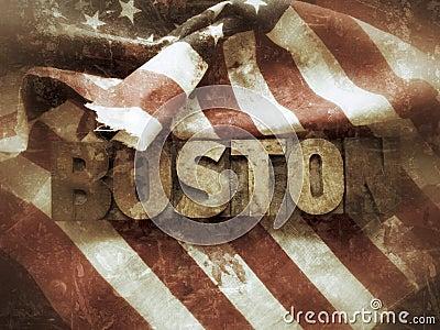 Boston word with USA flag grunge