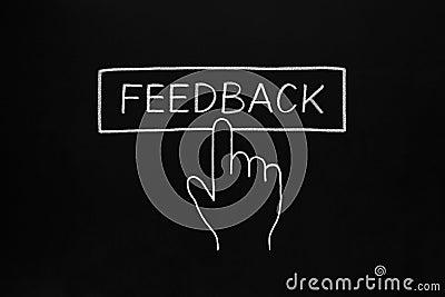 Botão de clique do feedback da mão