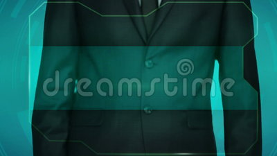 Botão do reverso do impulso do homem de negócio no tela táctil Um lugar para uma inscrição vídeos de arquivo
