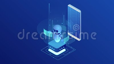 Bot e cybersecurity isométricos, conceito da inteligência artificial Conceito do AI e do neg?cio IOT Servi?o da ajuda do di?logo ilustração royalty free