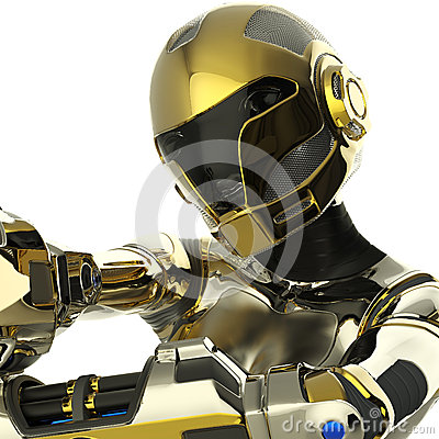 Bot soldier pointing a gun close up