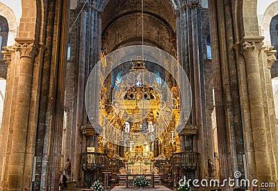 Botafumeiro and altar wide angle