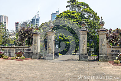 Botanic Gardens gates Editorial Stock Image