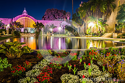 The Botanical Building And Lily Pond At Night Stock Photo Image 50399575