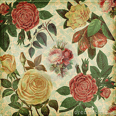 Botanical vintage roses shabby chic background