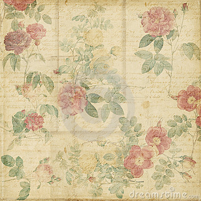 Free Botanical Vintage Roses Shabby Chic Background Stock Photos - 23162843