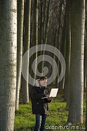 Botanist working outdoors